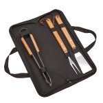 3 Piece BBQ Set with Wood Handles/Black Pouch  Kitchen Gifts
