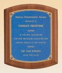 American Walnut Plaque with Linen Textured Plate Religious Awards