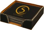 Black Square Leatherette Coaster Set Sales Awards