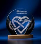 Black and Clear Circular Award on Wooden Base Sales Awards